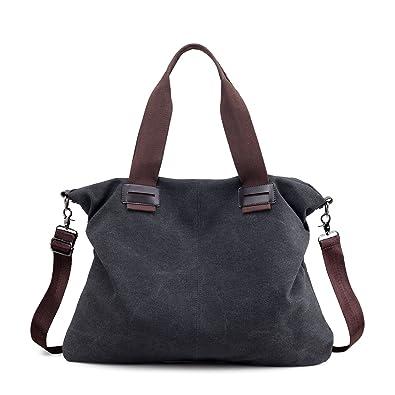 c9c269fa02 Hiigoo Women s Cotton Canvas Totes Bags Shoulder Bag Handbags Fashion  Messenger Bag (Black)