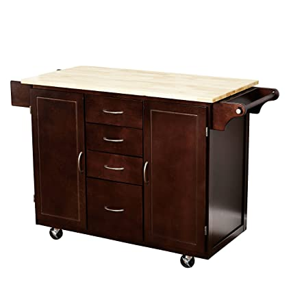 Target Marketing Systems Two Toned Country Cottage Rolling Kitchen Cart With 4 Drawers 2 Cabinets 1 Towel Rack 1 Spice Rack And An Adjustable