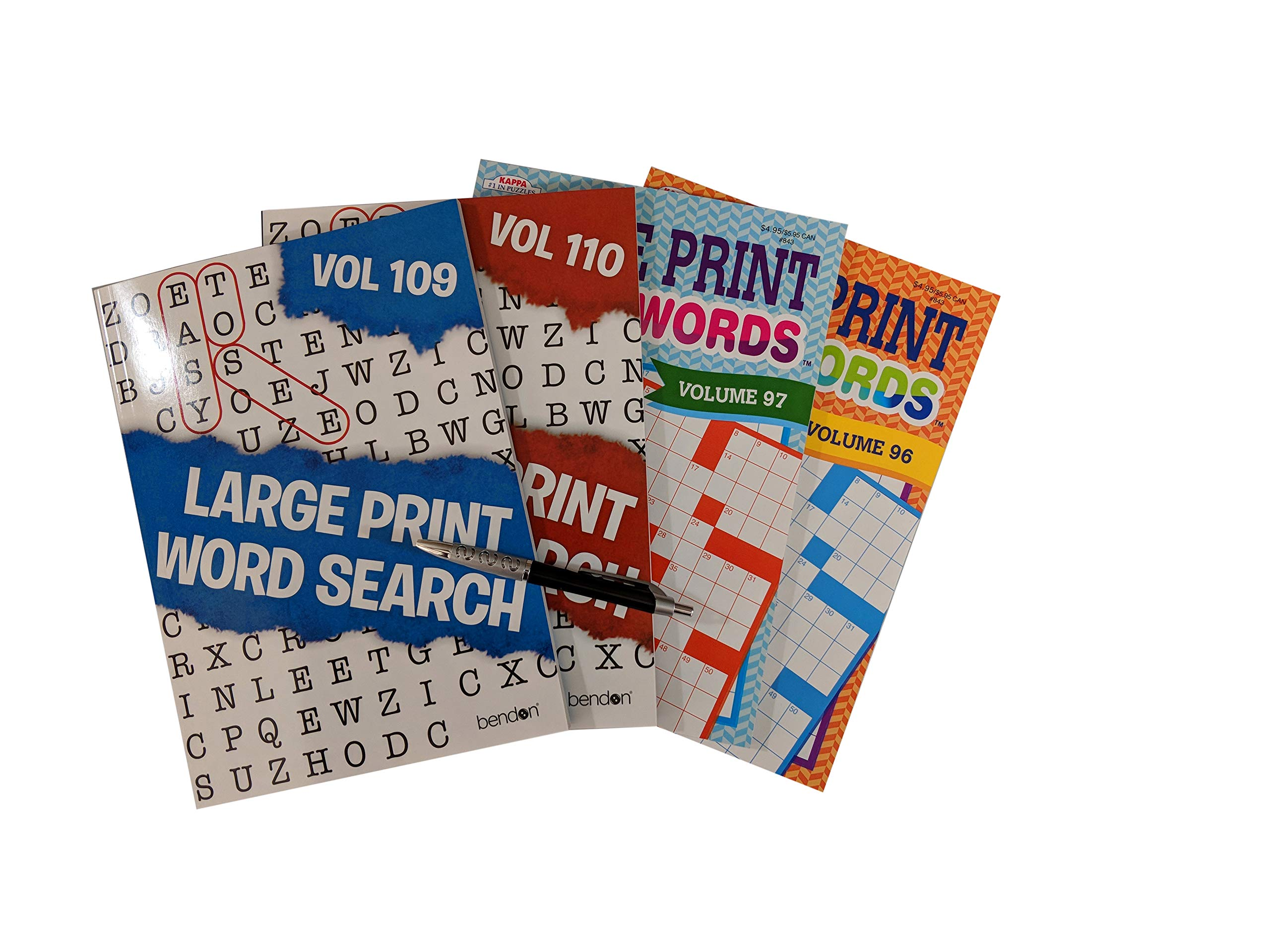 Large Print Crossword Puzzle Books & Large Font Word Search Workbooks for Adults