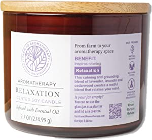 Farm to Aromatherapy 2-Wick Candle with Wooden Lid, Relaxation: Clean & Pure, Long Burning,Stress Relief, Promotes Wellness, Balance & Rest with Therapuetic Qualities, 9.7 Oz.