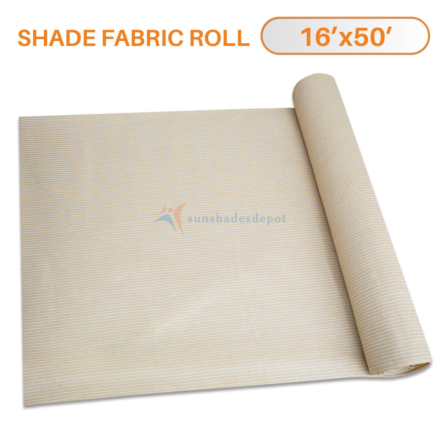 Sunshades Depot 16' x 50' Shade Cloth 180 GSM HDPE Beige Fabric Roll Up to 95% Blockage UV Resistant Mesh Net