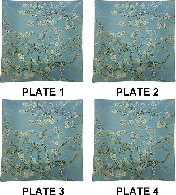 Apple Blossoms (Van Gogh) Juego de 4 - platos llanos (cuadrados ...
