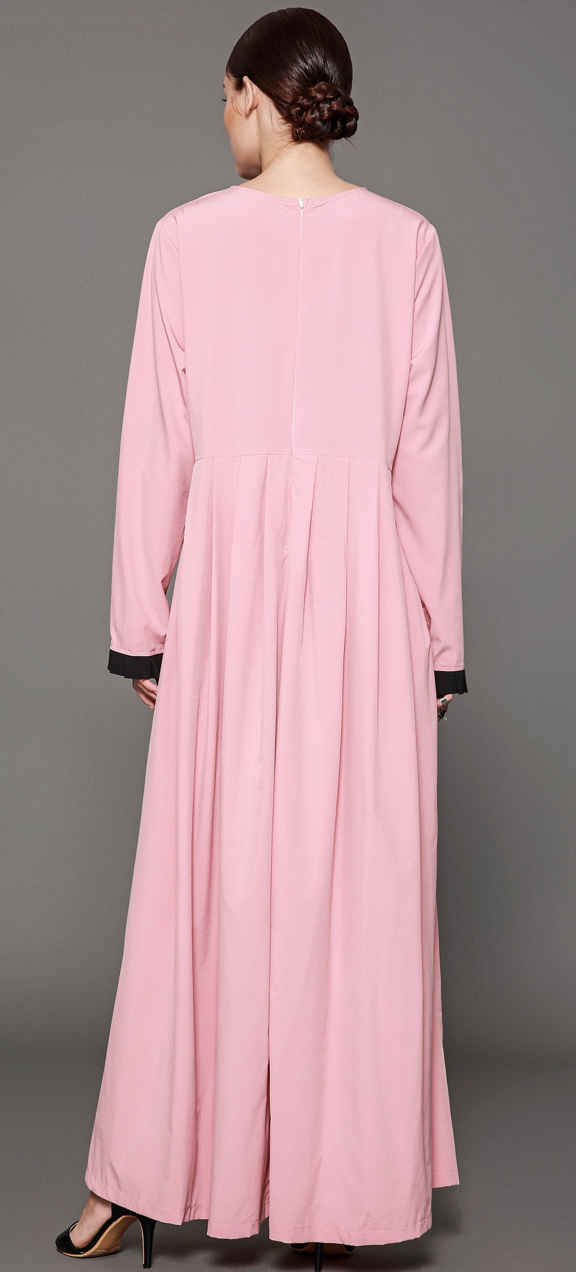 Ababalaya Women's Elegant Modest Muslim Full Length O-Neck Solid Pleated Runway Abaya S-4XL,Pink,Tag Size L = US Size 10-12 by Ababalaya (Image #2)
