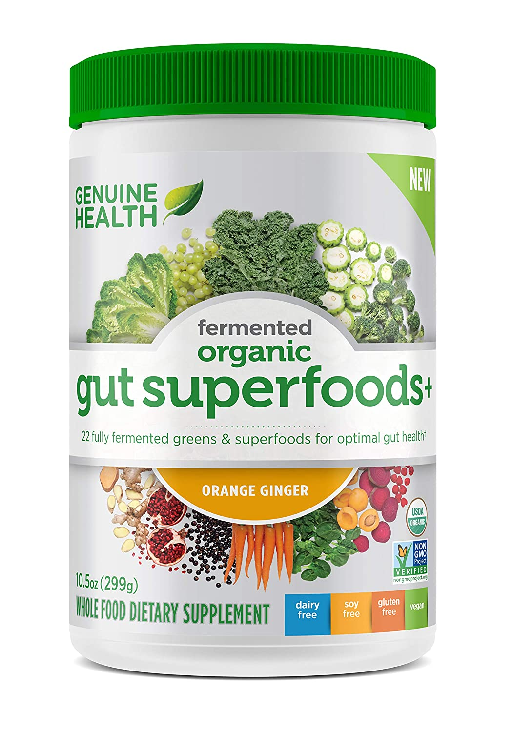 Genuine Health Fermented Organic Gut Superfoods+, Orange Ginger, Vegan Superfoods Powder, Prebiotics, Digestive Support, Gluten Free, Non-GMO, 10.5oz Tub