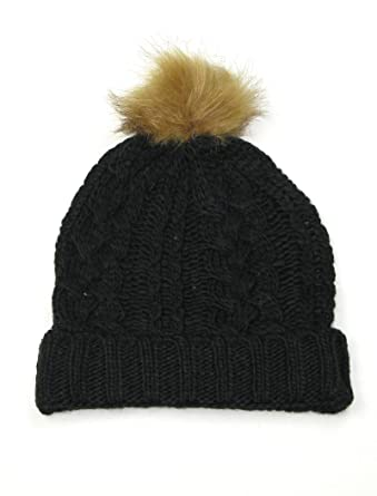 Womens Hat Black - Lovarzi Cable Knit Bobble Hats - Pull on Beanie Hats and  women  Amazon.co.uk  Clothing 2340b0191ae