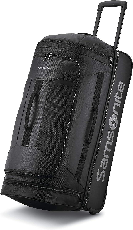 Samsonite Andante 2 Drop Bottom Wheeled Rolling Duffel Bag All Black 28 Inch Travel Duffels