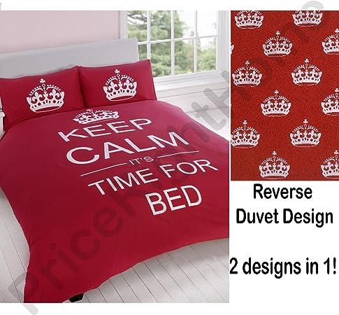 Copripiumino Keep Calm.Rapport Set Copripiumino Rosso Keep Calm Time For Bed Biancheria