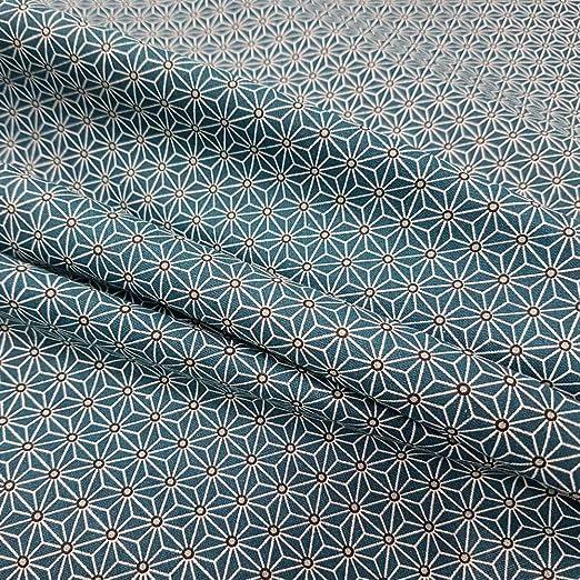 Werthers Stoffe Tela Tela de algodón Gris Blanco Azul Japón ...