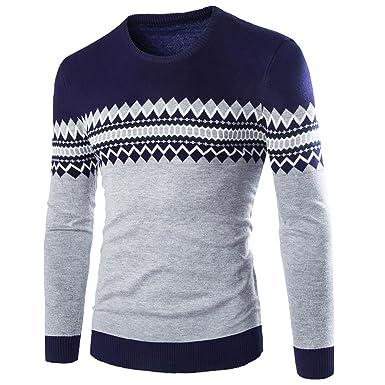 WSLCN Herren Sweatshirt gemustert Kontrastfarbe Blau / Grau DE XS  (Asiatisch M)