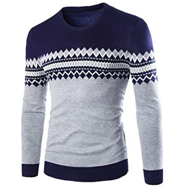 Wslcn Mens Knitted Pullover Long Sleeve Sweaters Aztec Pattern