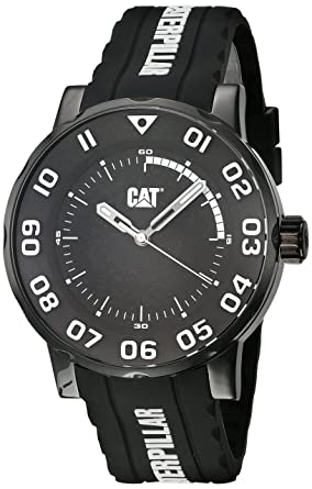 CAT WATCHES Mens Bold II Stainless Steel Analog-Quartz Watch with Silicone Strap, Black