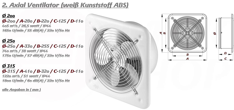 Absaugung Absauglüfter Axial Lüfter für Wand Fenster Ventilator  ø200mm 780m³//h