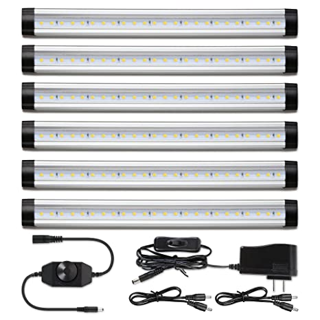 Albrillo Led Under Cabinet Lighting, Dimmable Under Counter Kitchen Lighting, 24 W 2000 Lumen, Warm White 3000 K, Pack Of 6 by Albrillo