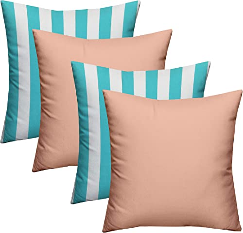 RSH D cor Indoor Outdoor Blue Mix Set of 4-20″x 20″ Square Pillow Set Weather Resistant
