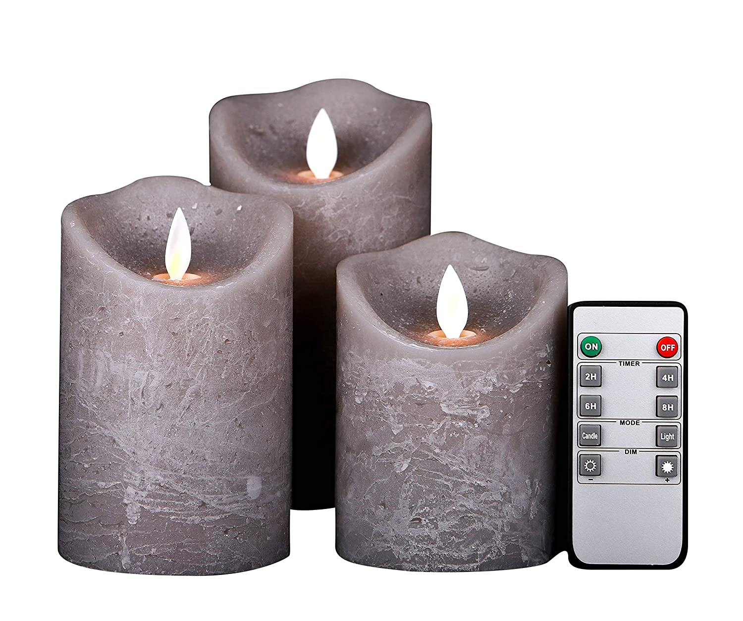 Kitch Aroma Marble Grey Color flameless Candles 3 x 4/5/6inch Battery Operated LED Pillar Candles with Moving Flame Wick and Timer,Wave Top KA0018GS03
