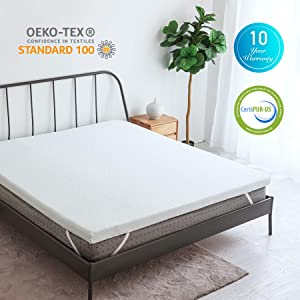 CO-Z 3-Inch Gel-Infused Cooling Memory Foam Mattress Topper Full Size, Ventilated Air Cell Technology, w/Removable Ice-Silk Cover, Perfect for Summer Use, CertiPUR-US Certified, 10-Year Warranty