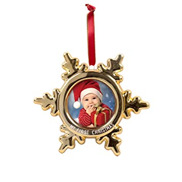 Tiny Ideas Babys Print Holiday Keepsake Ball Ornament with Included Paint for Handprint