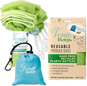 Venie Eco Friendly Reusable Produce Bags - Made From Recycled Plastic Bottles – Set of 5 Bags w/ Bonus rPET Carrying Pouch