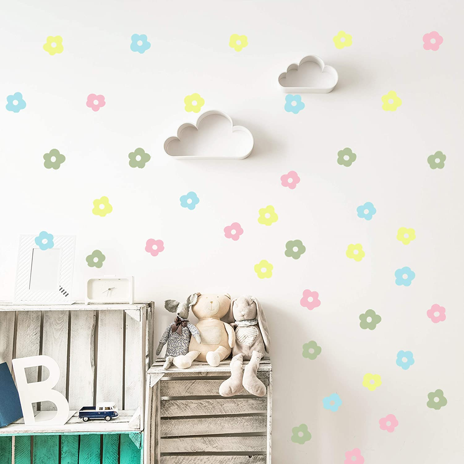 Vieli_arte Multicolor Flowers Wall Vinyl Decal décor Nursery. Adhesive Original Artist Design Love Flower Yellow, Pink, Green, Light Blue Stickers for Kids. Baby Nordic Flores Bedroom Decoration
