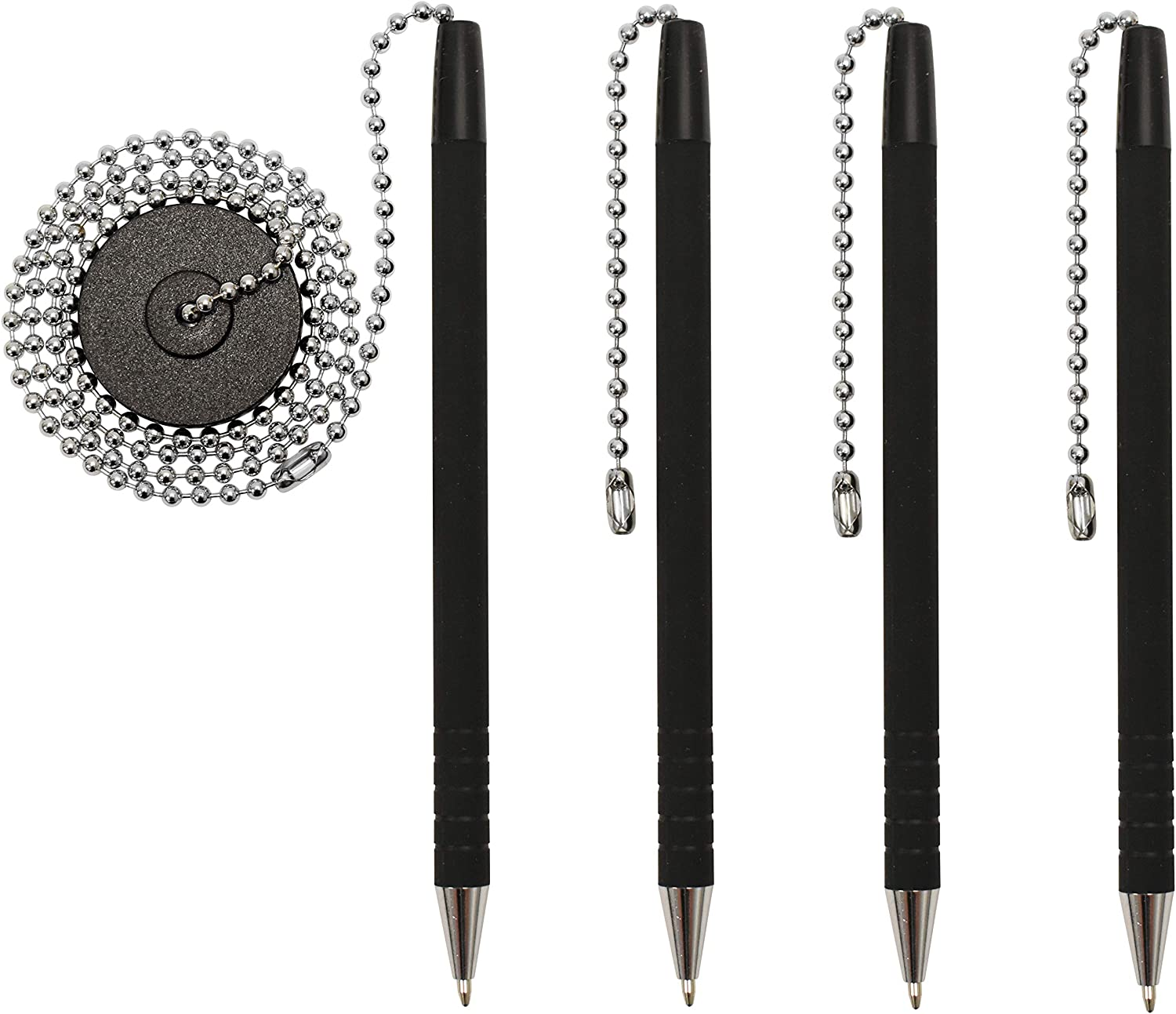 "Secure Pen With Chain And Office Pen Holder Adhesive, Reception Counter Pen With 26"" Ball Pen Chain, 4 Pens With Chain Attached Per Pack, Rubber Grip, Black Ink, Easily Refillable"