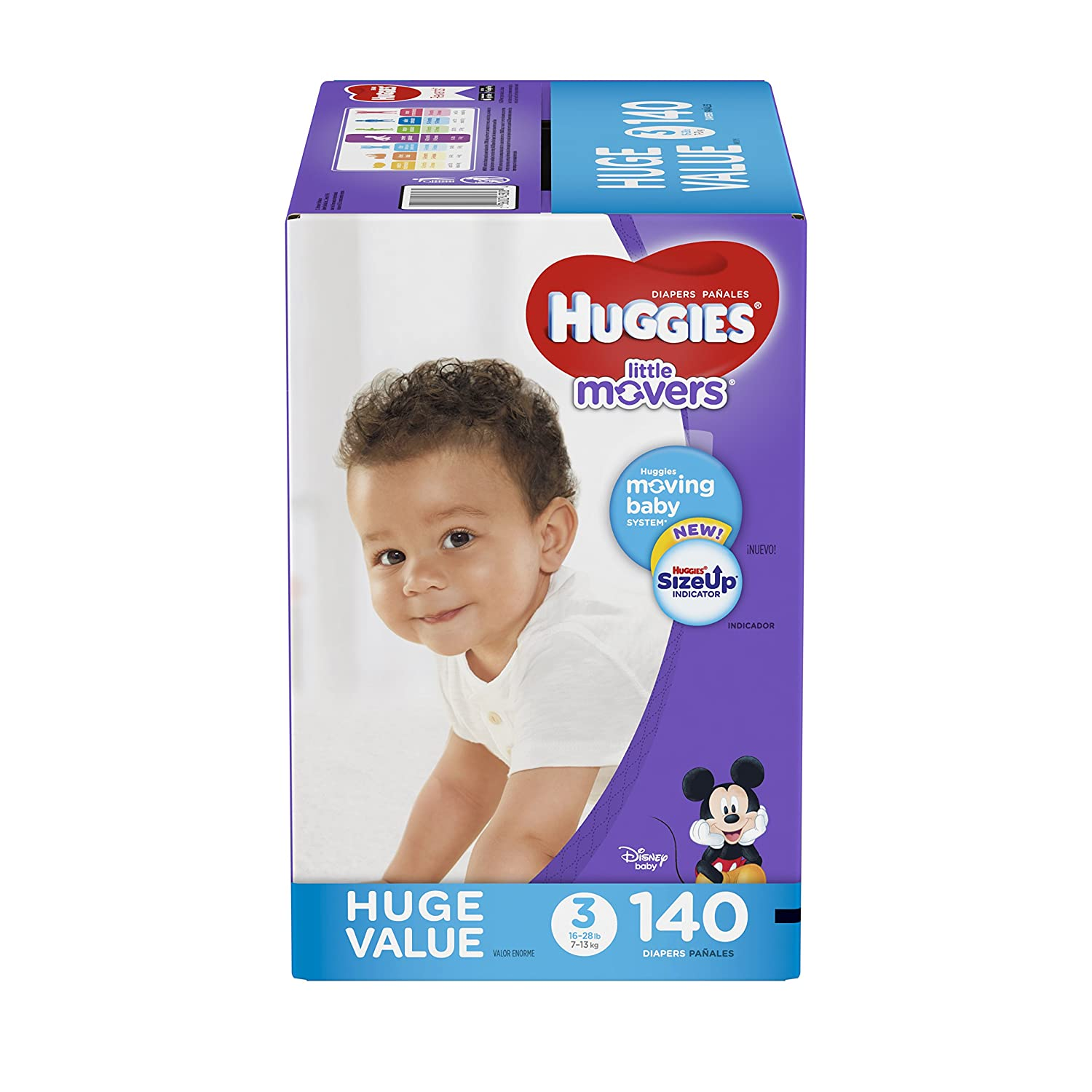 Amazon.com: HUGGIES Little Movers Diapers, Size 3 (16-28 lb.), 140 Ct, Huge Pack (Packaging May Vary), Baby Diapers for Active Babies: Health & Personal ...