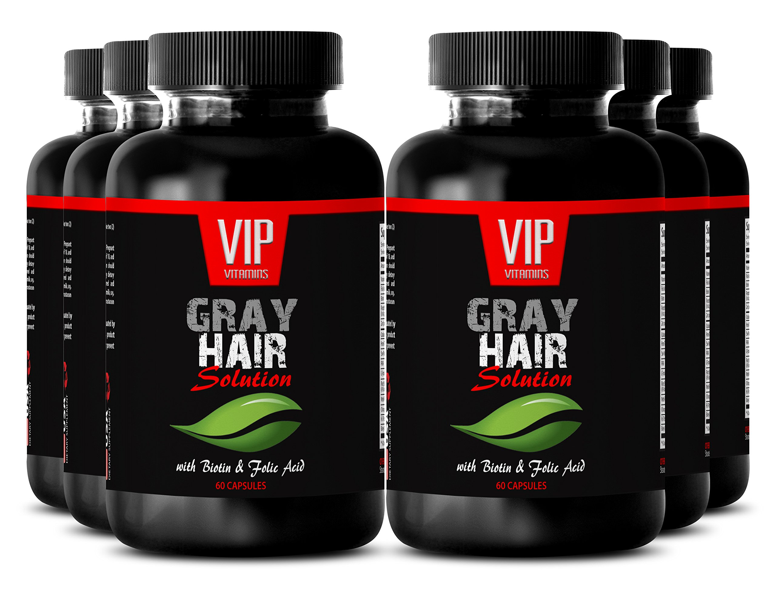Nettle Root Powder - Gray Hair Solution - Hair growth vitamins (6 Bottles 360 capsules)