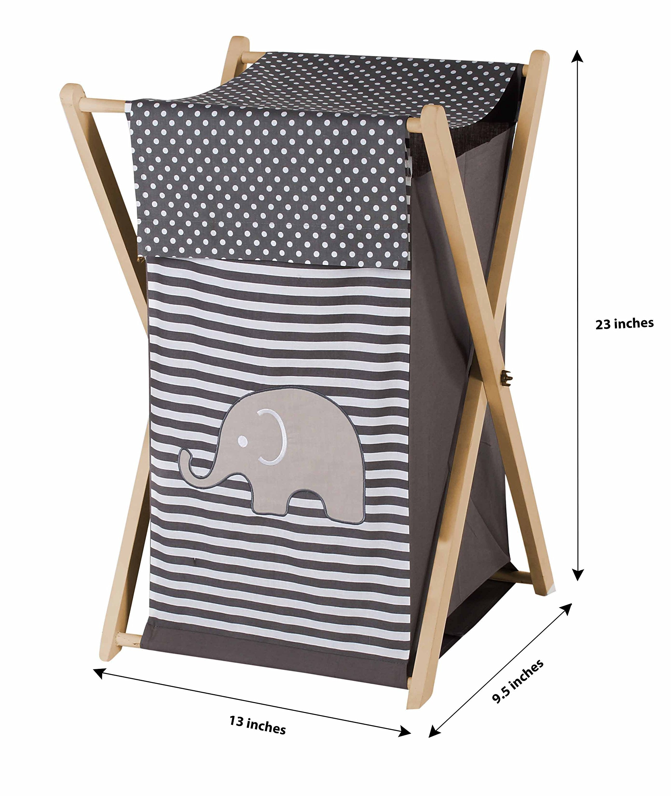 Bacati Elephants Unisex Hamper Cover with Natural Finish Wood Frame and Mesh Liner, Grey by Bacati (Image #1)