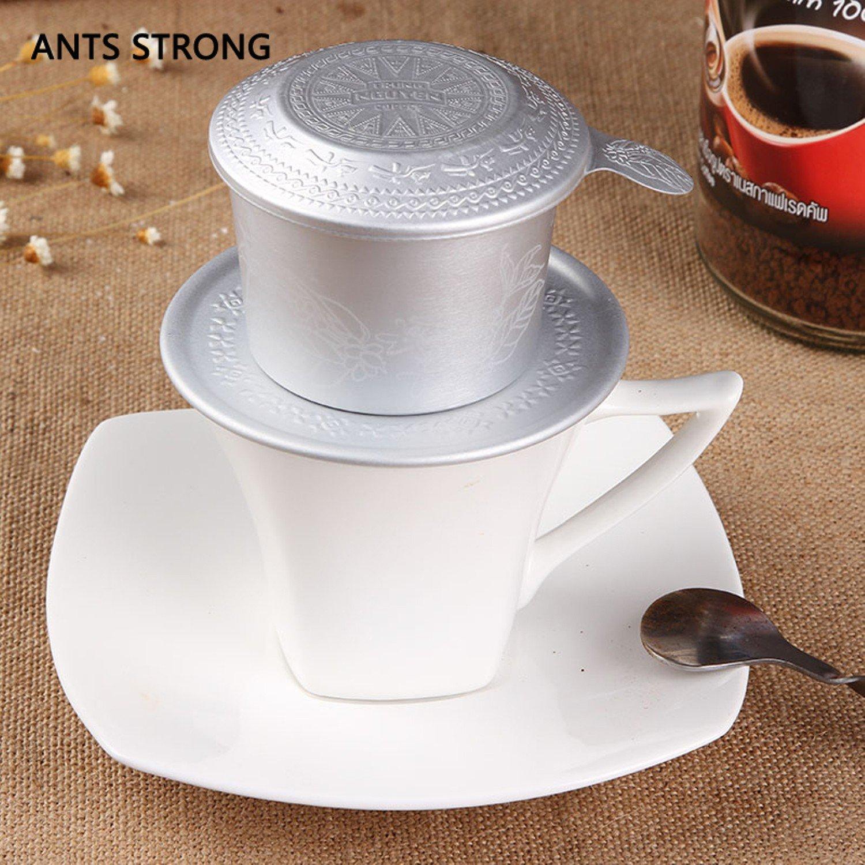 Portable aluminum hand punch coffee filter/ Tea dripper filter cup Vietnamese coffee brewing tool