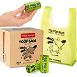 Dog Poop Bags with Handles Tie Poop Bags for Dogs - Pet Waste Bag - Small to Medium Breeds - Green - Unscented - 384…