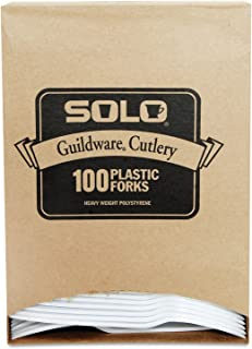 product image for SOLO GBX5FW0007BX Guildware Extra Heavy Weight Plastic Forks, White, 100/Box