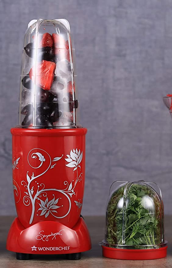 Wonderchef Nutri Blend 400 Watts Mixer Grinder with 2 Jars  Red  Juicer Mixer Grinders