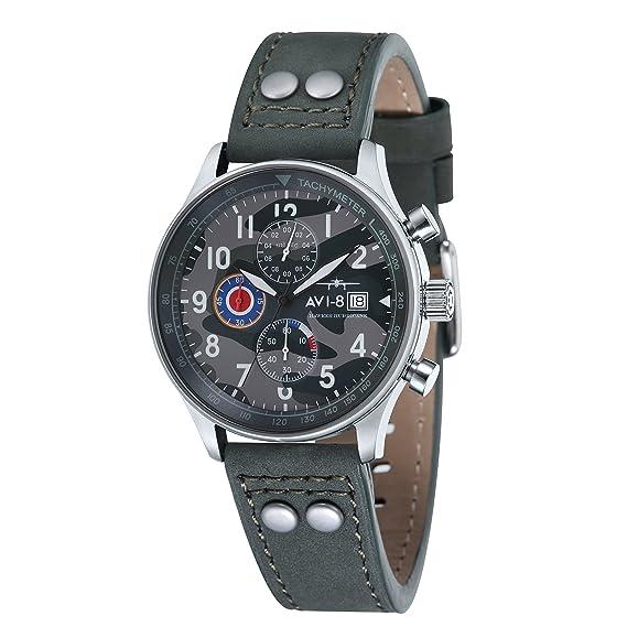 Reloj de cuarzo para hombre AVI-8 Hawker Hurricane con esfera analógica multicolor y correa de cuero verde AV-4011-0A: Amazon.es: Relojes