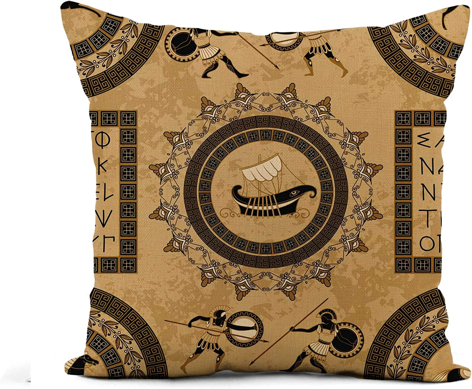 Amazon Com Awowee Flax Throw Pillow Cover Ancient Greek Letters Ships Horses Fighting People And Traditional 18x18 Inches Pillowcase Home Decor Square Cotton Linen Pillow Case Cushion Cover Home Kitchen