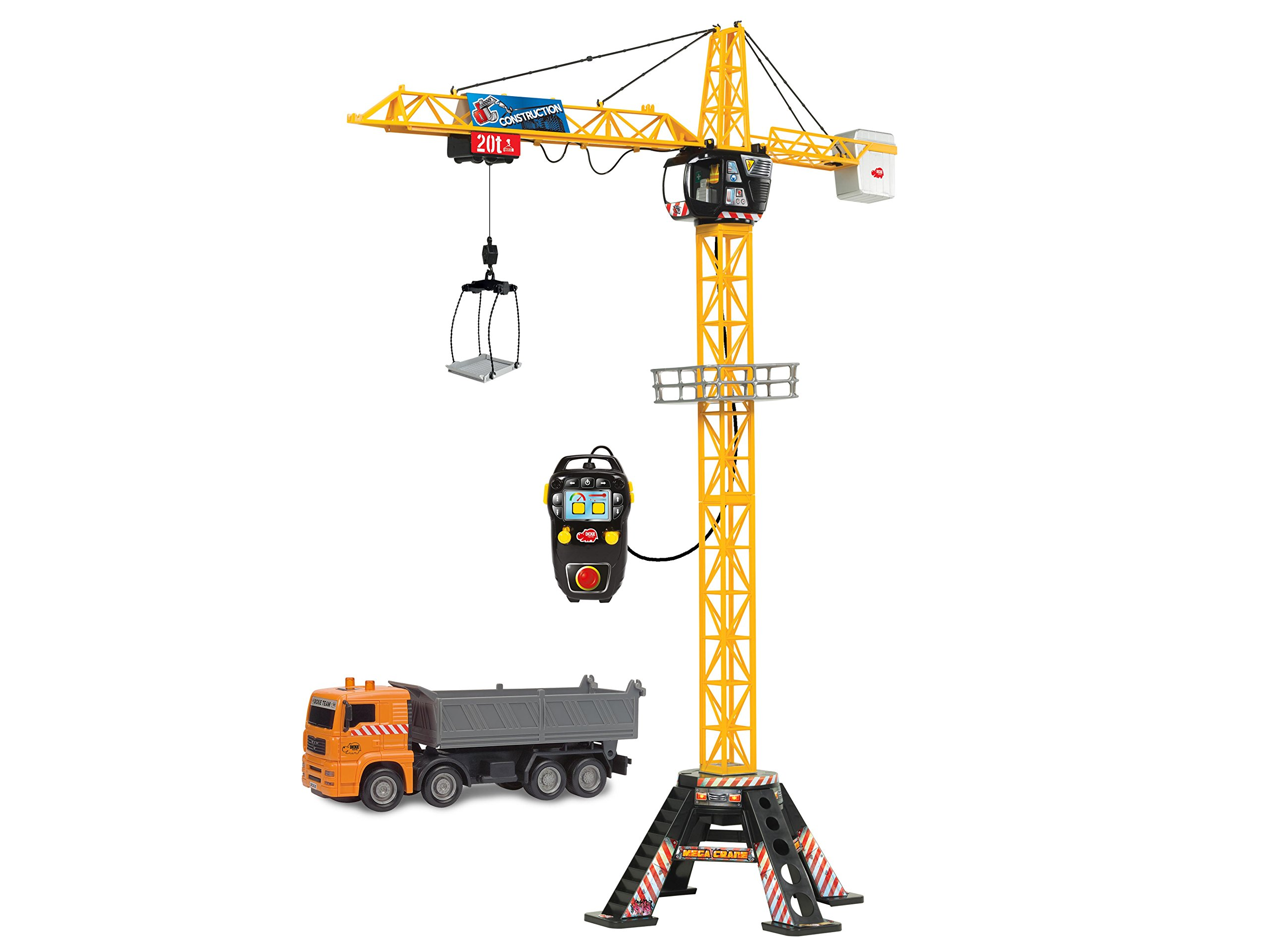 DICKIE TOYS 48'' Mega Crane and Truck Vehicle and Playset
