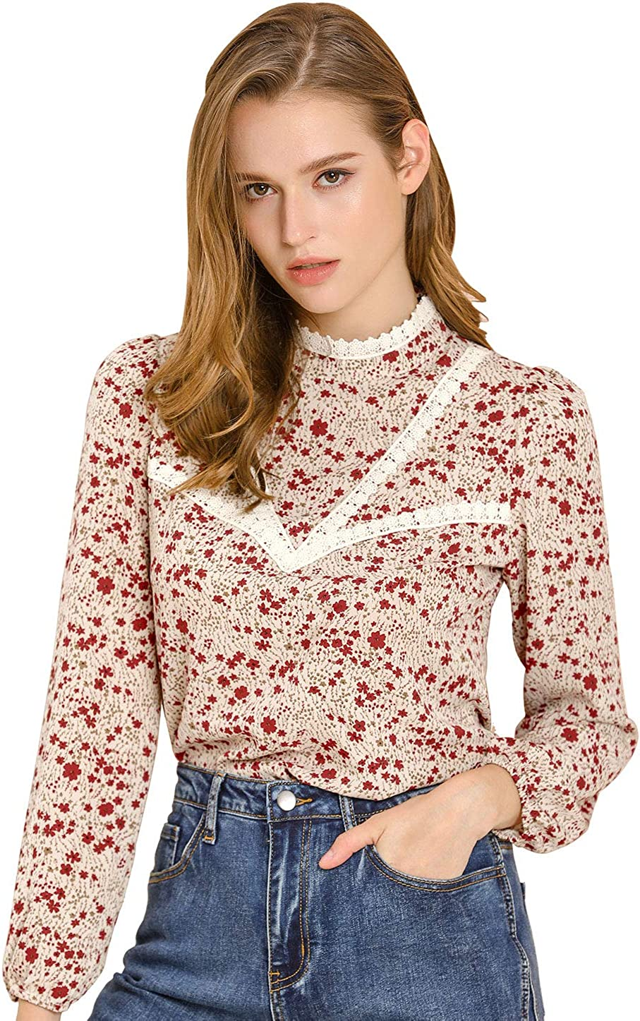 70s Outfits – 70s Style Ideas for Women Allegra K Womens Vintage Lace Trim Stand Collar Long Sleeve Floral Pattern Top $22.99 AT vintagedancer.com