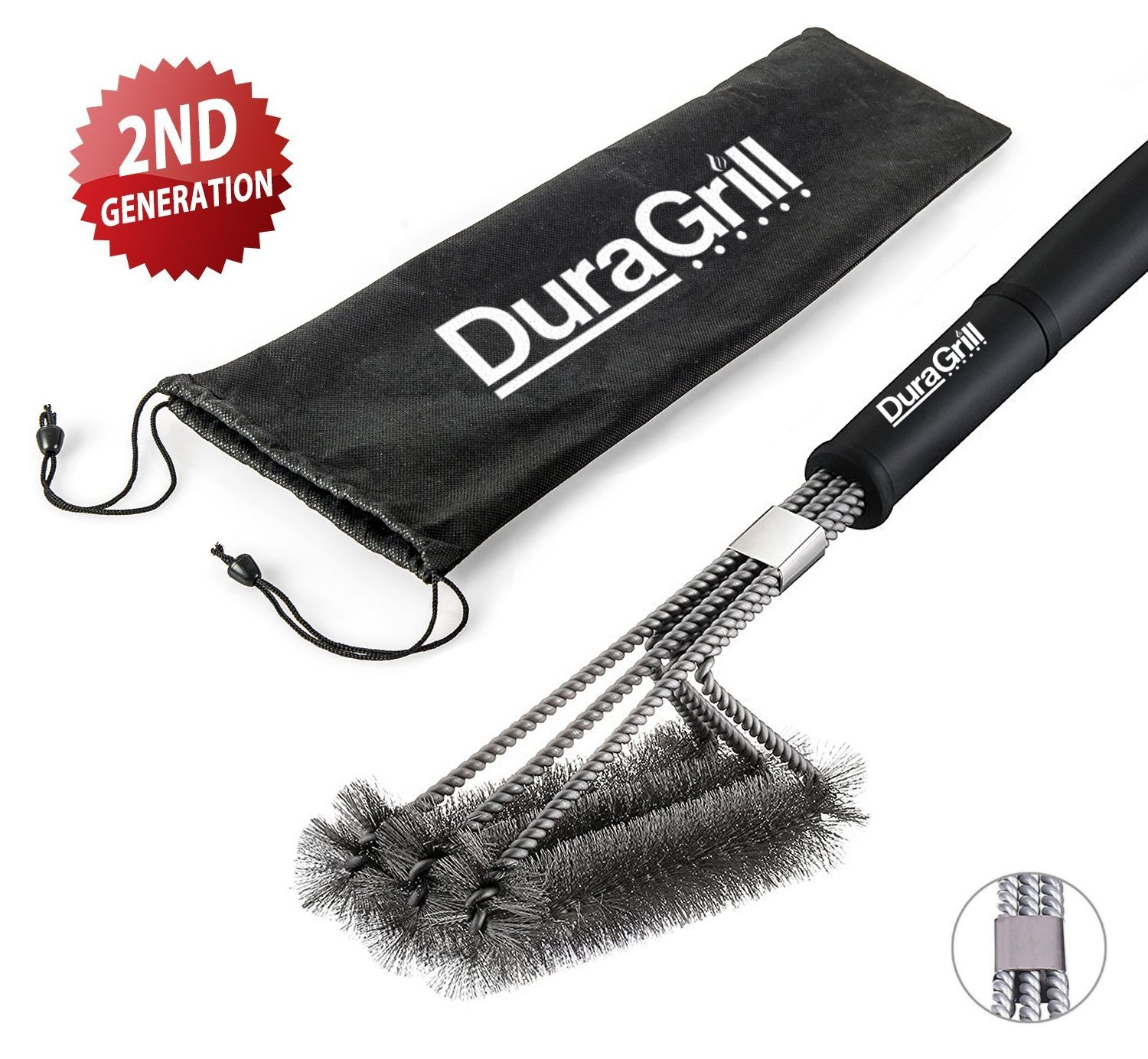 BBQ Grill Brush by DuraGrill™ - 18 - 3 Stainless Steel Brushes in 1 - Perfect for Char-Broil, Weber, Porcelain and Infrared Grills