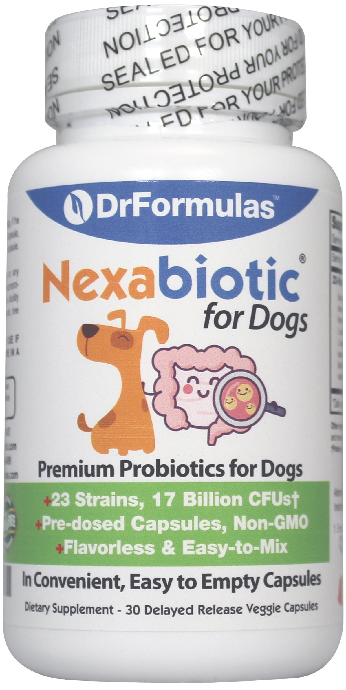 DrFormulas Probiotics for Dogs & Puppies Pets Diarrhea Treatment   Flavorless, Pre-dosed, 23 Premium Nexabiotic Probiotic for Pets with Saccharomyces Boulardii, Lactobacillus Acidophilus, 30 Doses by DrFormulas