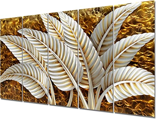 Brilliant Arts Modern Silver Banana Leaves Metal Art Decor Golden Home Accent Wall Sculpture Panel Artwork Hand Polished Decorative Hangings