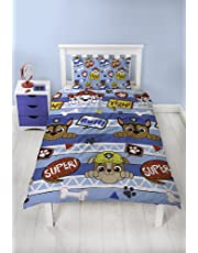 Paw Patrol Peek Boys Single Duvet Cover | Reversible Two Sided Design | Kids Bedding Set Includes Matching Pillow Case