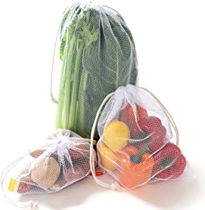 NZ Home Zero Waste Reusable Produce Bags | Drawstring | Multiple Sizes in White | Extra Strong, Washable, See Through with Tare Weight Labels | Set of 5 (Double Drawstrings)
