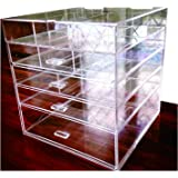 "Cq acrylic Large Beauty Cube 5 Tier Drawers Acrylic Cosmetic organizer Handmade Multi function Makeup Organizer Storage,10""x10""x11"",pack of 1"