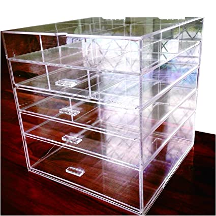 Amazoncom Cq acrylic Large Beauty Cube 5 Tier Drawers Acrylic