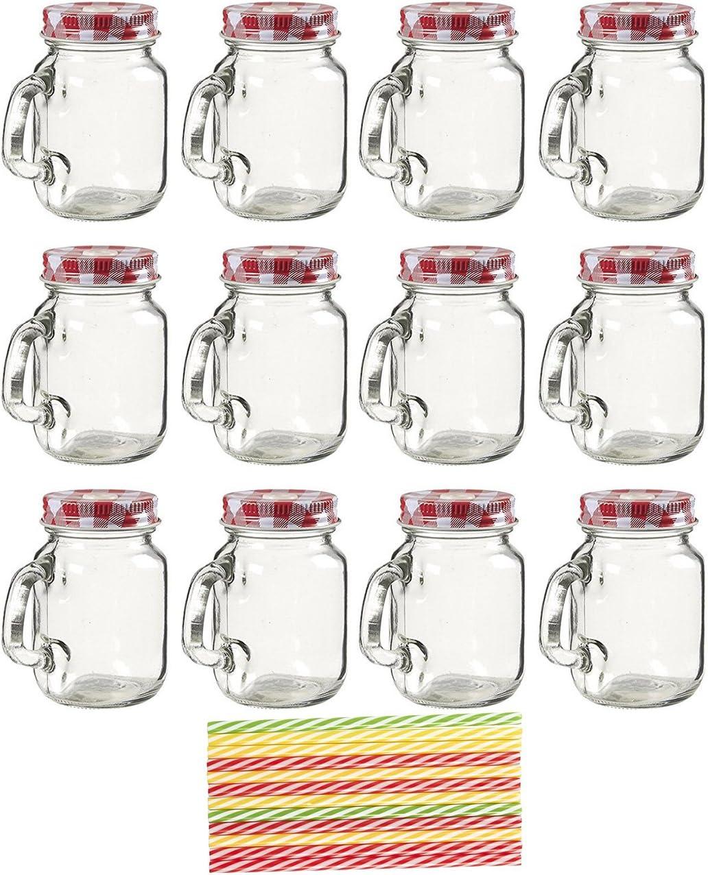 Juvale Mini Mason Jar Mugs with Lids and Straws (12 Pack)