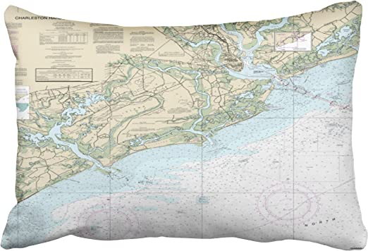 Amazon Com Accrocn Pillowcases Vintage Charleston Sc Harbor Nautical Chart Cushion Decorative Pillowcase Polyester 20 X 30 Inch Rectangl Queen Size Pillow Covers With Hidden Zipper Home Kitchen