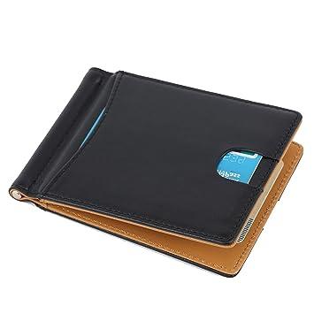 Monedero de Cuero para Hombres, Carteras para Hombres, Monedero Tarjeta de crédito para Tarjetas de protección RFID, Dinero Clip lip 4 Tarjetas con ...