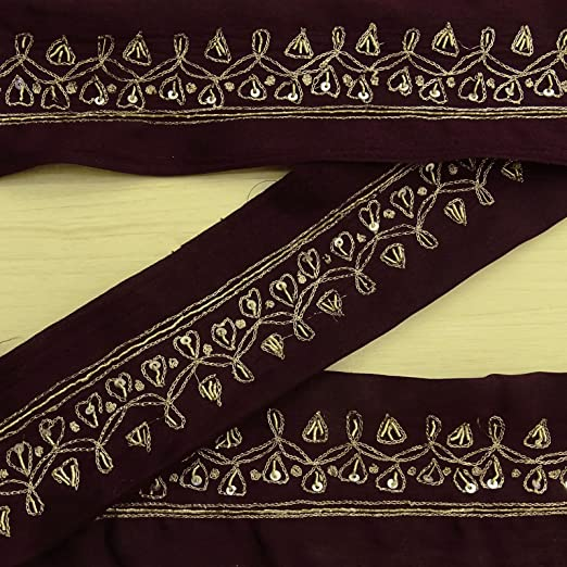 """Embroidered 1.5/"""" PAISLEY TRIM 1yd Beaded Sequins"""