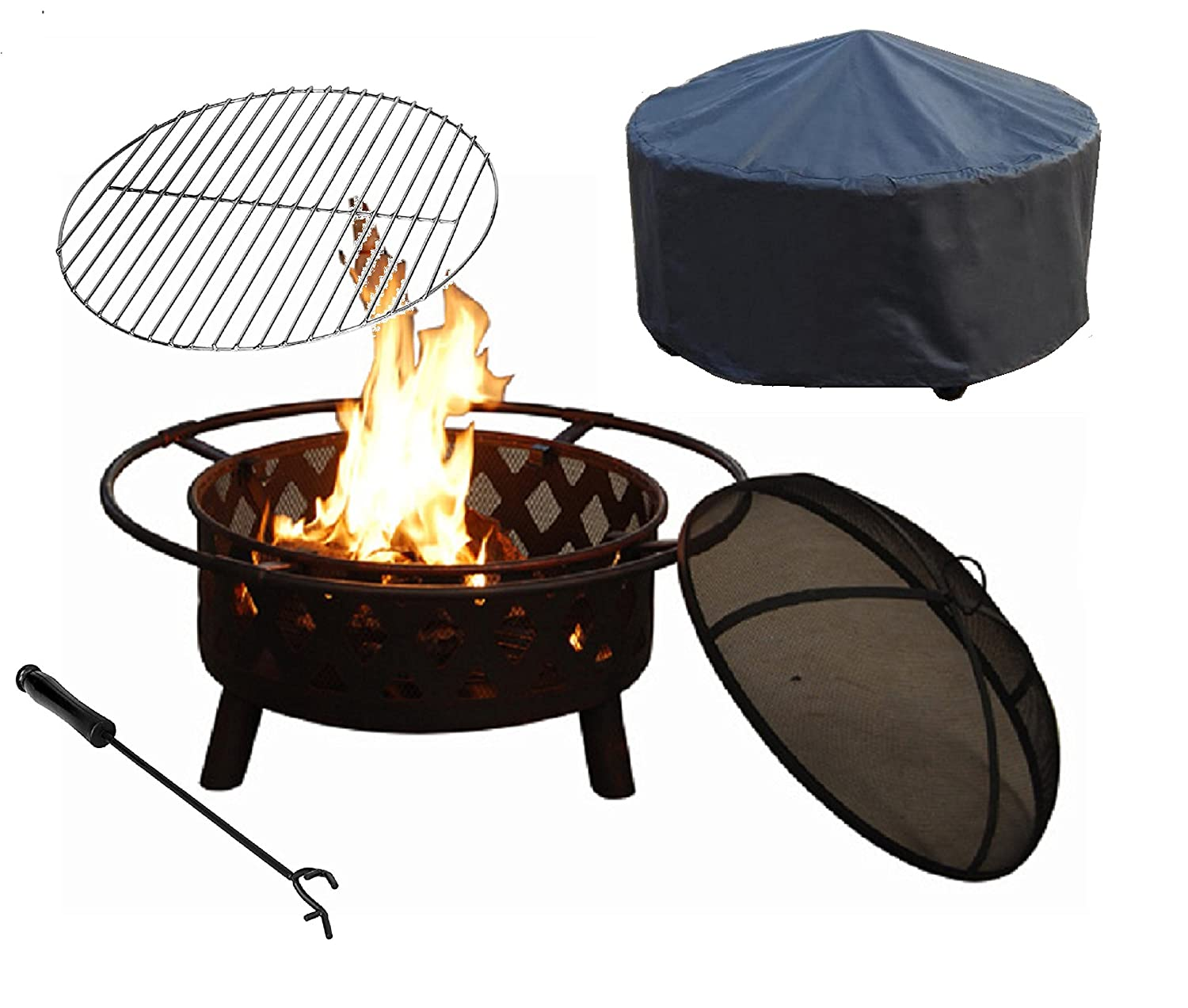 CozyFlame Crossweave Fire Pit Steel Folding Mesh Fire Burning Pit with Free Grill Grate and Cover
