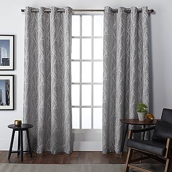 Exclusive Home Finesse Faux Linen Grommet Top Window Curtain Panels  54u0026quot; X 84u0026quot;,
