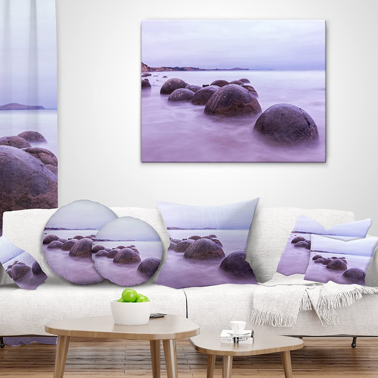 Designart CU9479-18-18 Moeraki Boulders New Zealand Seashore Photo Throw Pillow 18 x 18