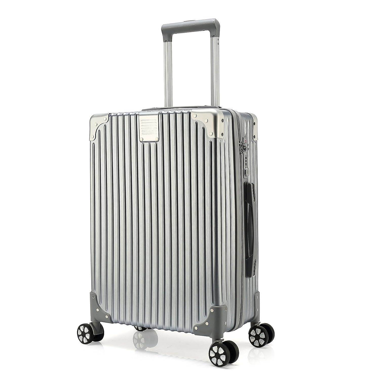 クロース(Kroeus) スーツケース ファスナータイプ 4輪ダブルキャスター 静音 大型 大容量 軽量 人気 ソフト キャリーケース 旅行 出張 TSAロック搭載 耐衝撃 ヘアライン仕上げ B0788F34GC XL|シルバー シルバー XL